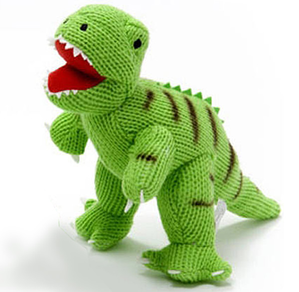 Knitted george the dinosaur baby toy