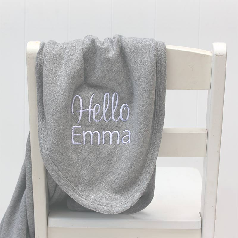 Personalised Hello Baby grey cotton blanket