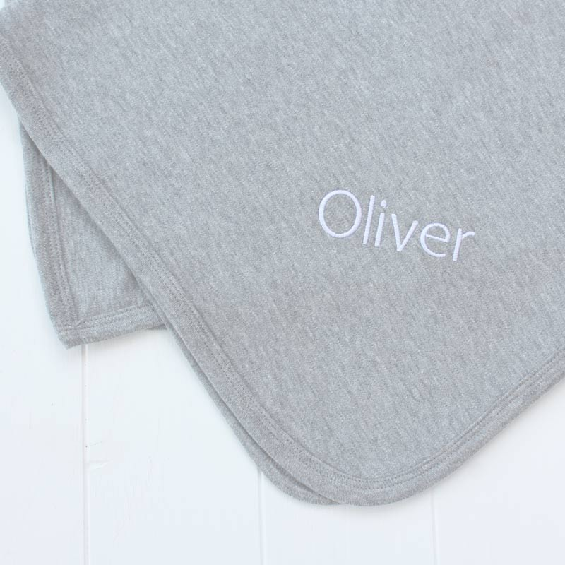 Personalised grey cotton baby blanket