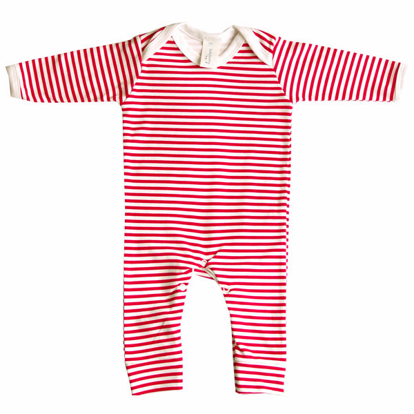 Red and white stripe romper suit