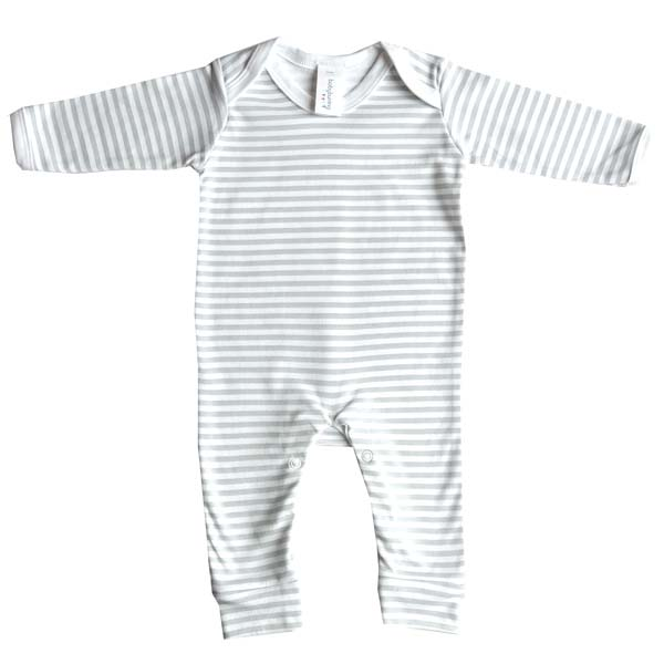 Baby Bunting Grey & White Stripe Print Rompersuit