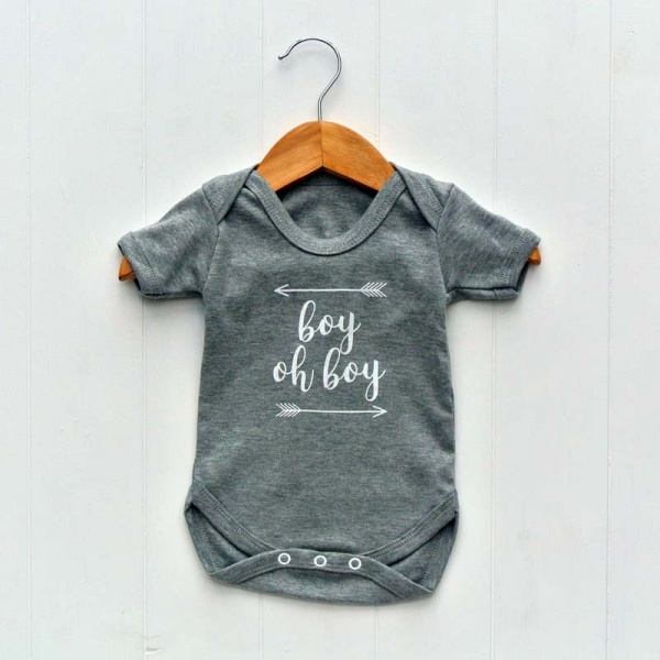 Newborn Baby Bodysuit, Grey, Boy Oh Boy
