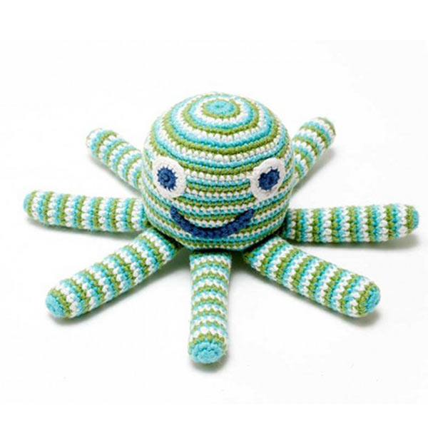 Pebble Fairtrade Crochet Octopus - Blue
