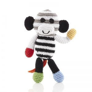Black and White Knitted Monkey Rattle
