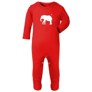 Newborn Playsuit, Red Elephant Print