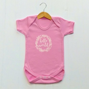 Newborn Baby Girls Bodysuit, Pink, Hello World Print