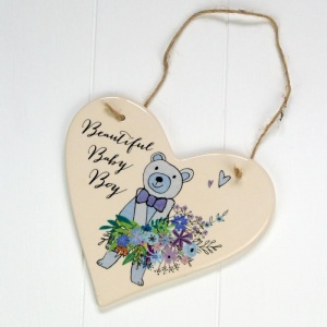 Peel and Sardine Boys Hanging Ceramic Heart