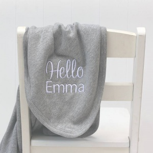 Personalised Embroidered Grey 'Hello Baby' Blanket