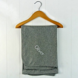 Personalised Embroidered Grey Cotton Blanket