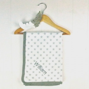 Personalised Embroidered Grey Star Blanket