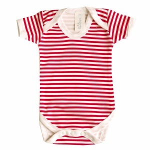 Baby Bunting Red & White Stripe Bodysuit