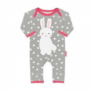 Toby Tiger Girl's Bunny Applique Spot Rompersuit
