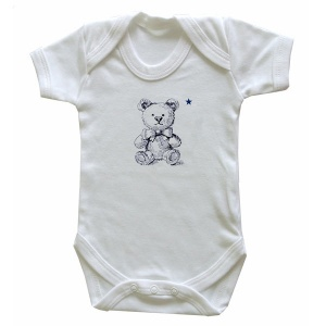 Bodysuit, White with printed Teddy Bear