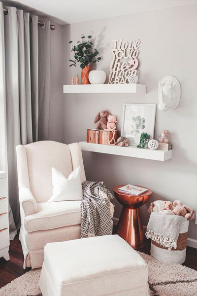 Baby Nursery Decor Mixed Metallics, Copper, Rose Gold
