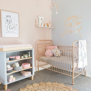 Baby Nursery decor, Metallic girls bedroom