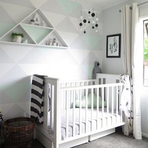 Baby Nursery decor, Monochrome and mint baby bedroom
