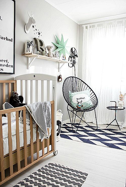 Baby Nursery Decor Monochrome and Mint Palette