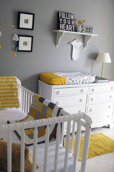 Baby Nursery Decor Yellow and Grey Palette