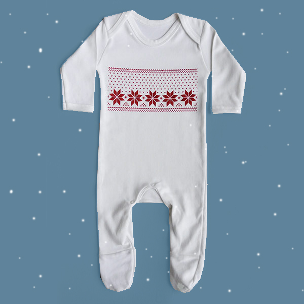 Newborn Christmas Fair Isle print sleep suit outfit