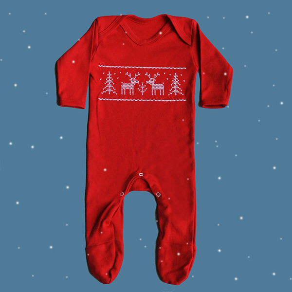 Christmas baby reindeer sleep suit outfit