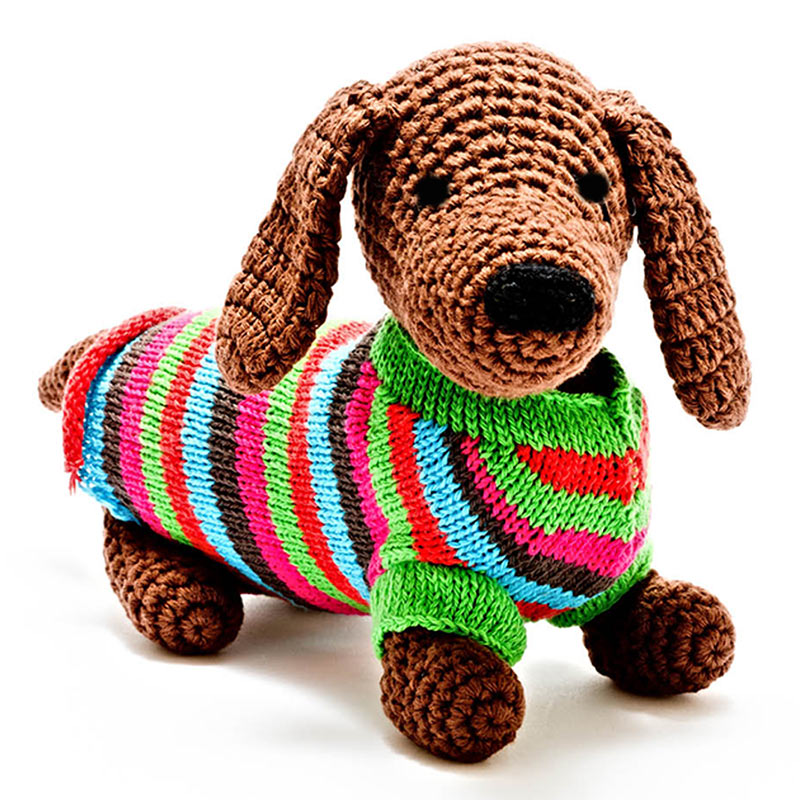 Hand Crocheted Sausage Dog baby toy