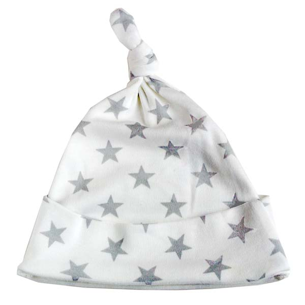 Grey and white star print knotted hat