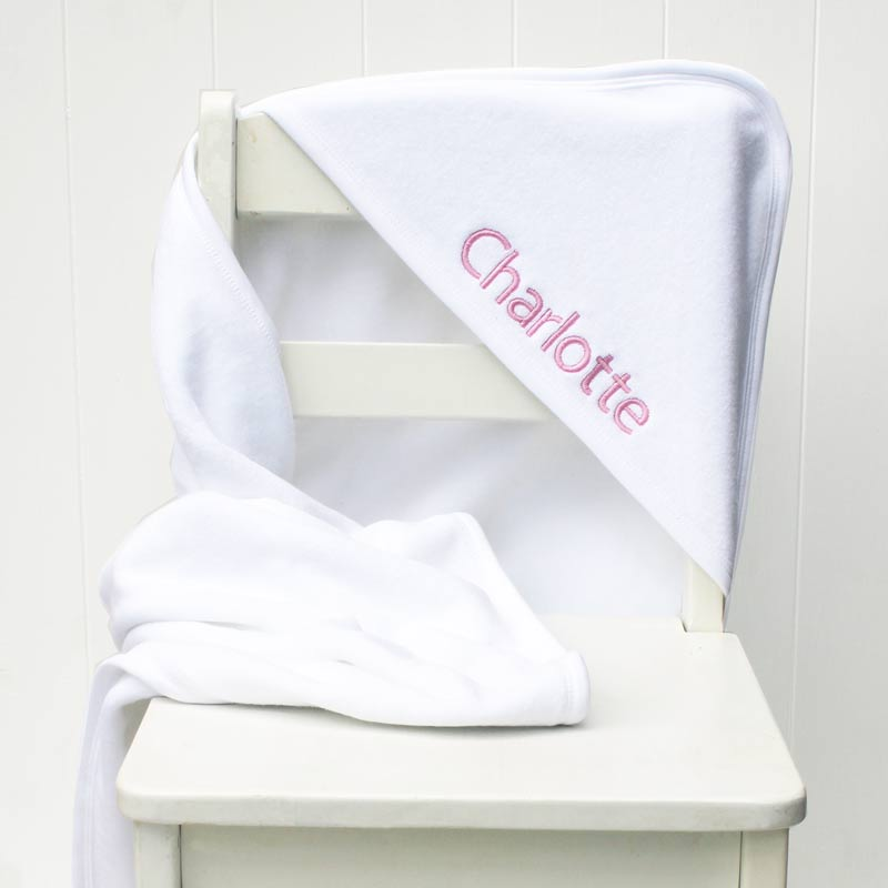 Personalised white hooded baby towel