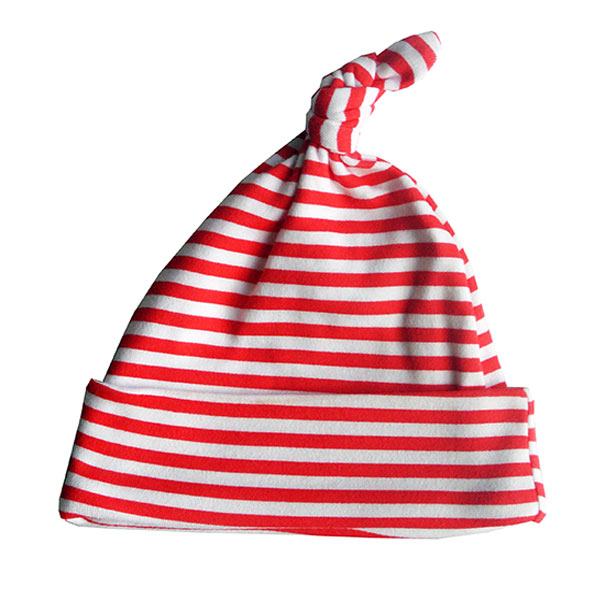 Red and white strip baby hat