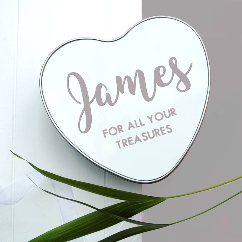 Personalised baby keepsake tin heart
