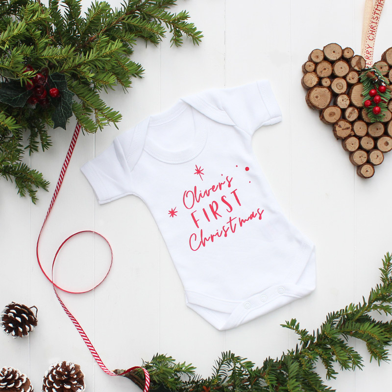Personalised Baby's First Christmas Bodysuit