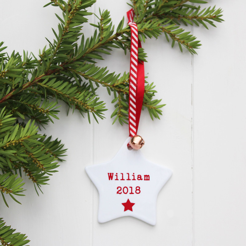 Personalised Baby Ceramic Star Christmas Decoration