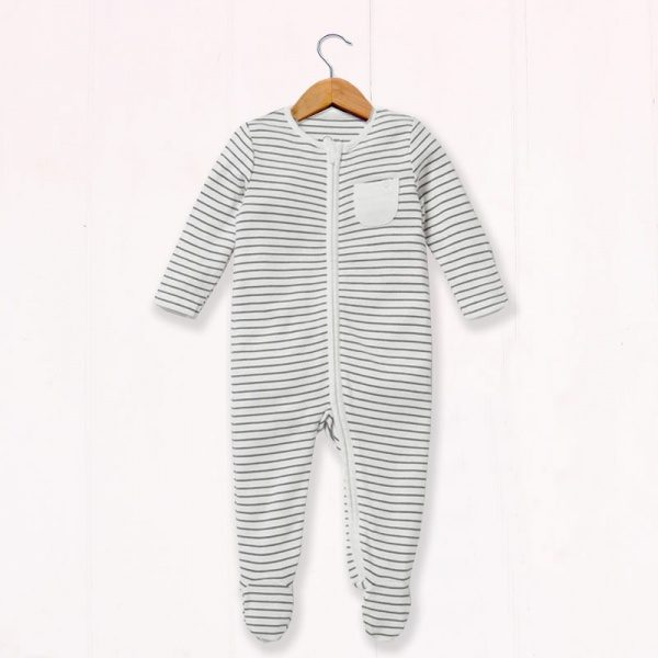 Baby Mori Grey Stripe Sleepsuit
