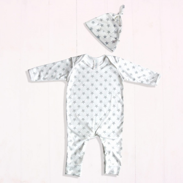 Grey & White Star Print Baby Outfit Set