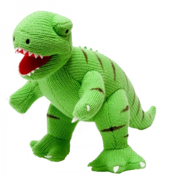 Mini George the Dinosaur Knitted Rattle Toy