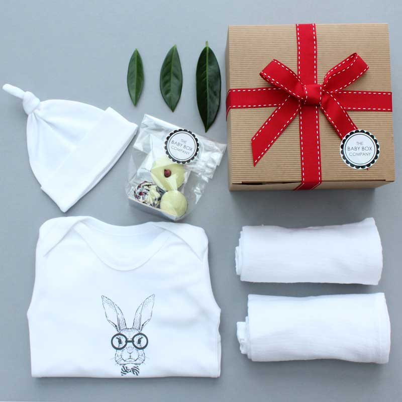all white new baby hamper