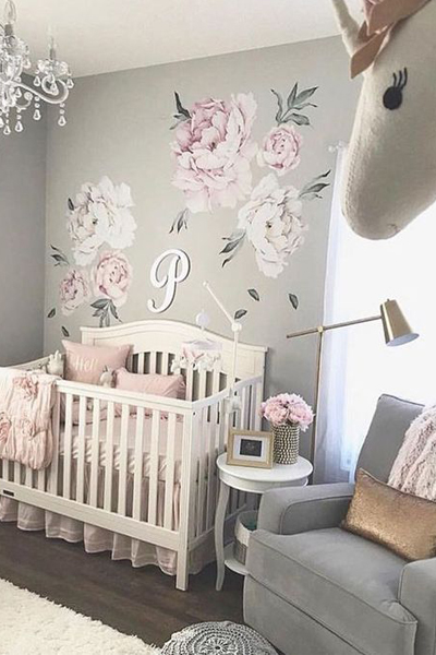 Baby Nursery Decor Girls Wall Decal, Pink