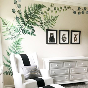 Baby Nursery decor, Wall decal art, fern