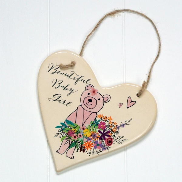 Peel and Sardine Girls Hanging Ceramic Heart