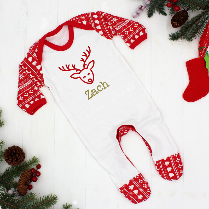 First Christmas Baby Outfit - Reindeer Print