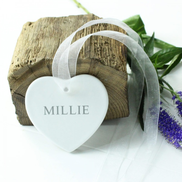 Personalised Hanging Christening Ceramic Heart