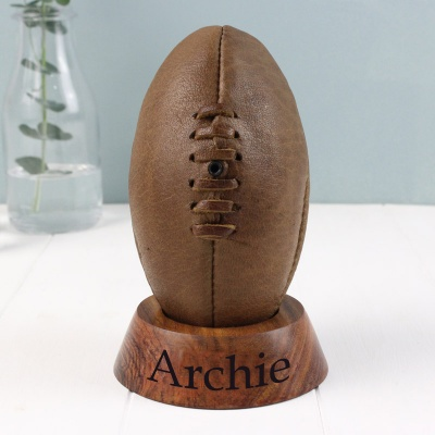 Personalised Vintage Rugby Ball and Stand