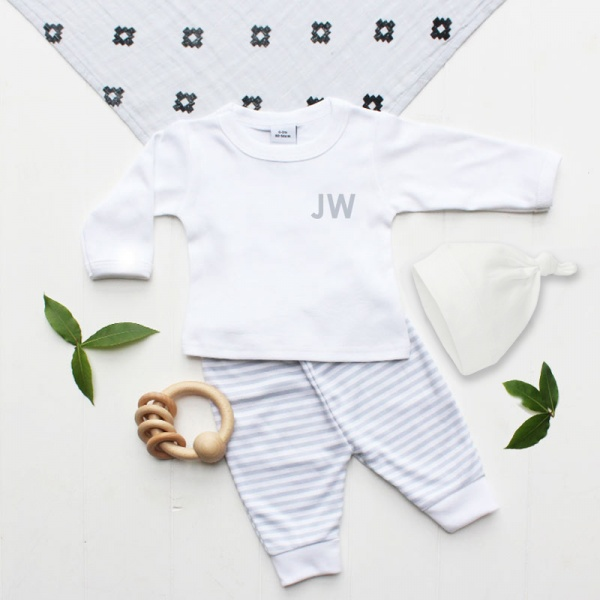 Personalised Baby's Initials Grey Stripe Outfit & Hat