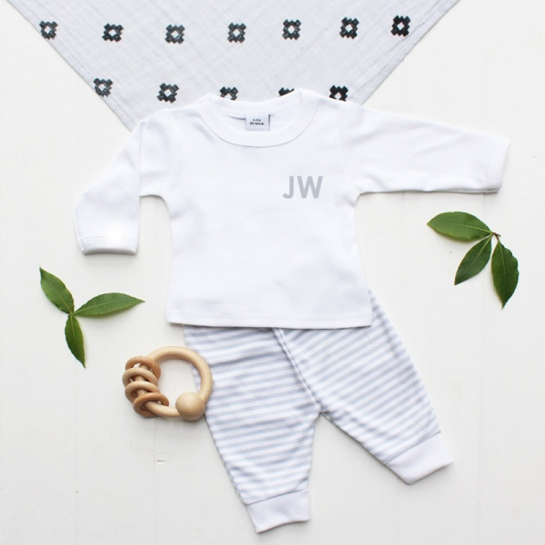 Personalised Baby's Initials Grey Stripe Leggings Outfit