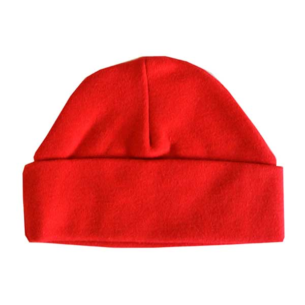 Beanie Hat, Bright Red, Soft Cotton