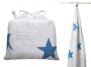 Aden & Anais Brilliant Blue Stars Swaddle & Bag
