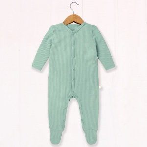 Baby Mori Ribbed Sleepsuit - Mint Green