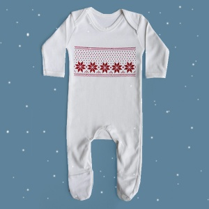 Christmas Fair Isle Print Baby Sleepsuit