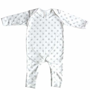 Baby Bunting Grey & White Star Print Rompersuit