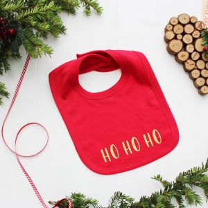 Ho Ho Ho, Baby's First Christmas Bib in Red