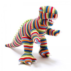 Rex the Striped Dinosaur Knitted Soft Toy - Large
